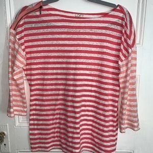 Loft Pink & White Striped Long Sleeve Shirt